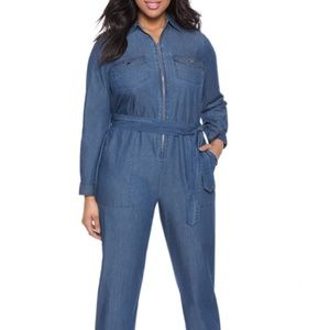 Eloquii Chambray Utility Jumpsuit
